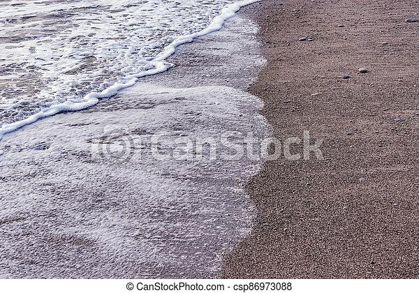 mer, vague, soir, eau, time. - csp86973088