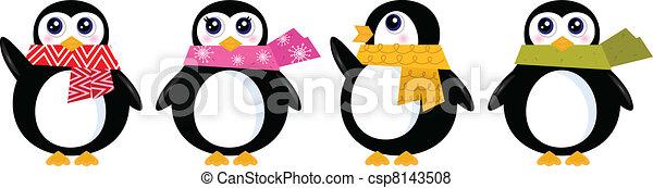 mignon, ensemble, hiver, ), (, isolé, vecteur, retro, blanc, manchots - csp8143508