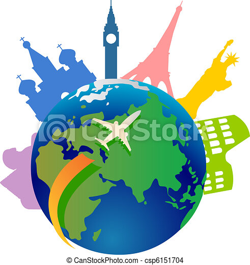 mondiale, voyager, autour de - csp6151704