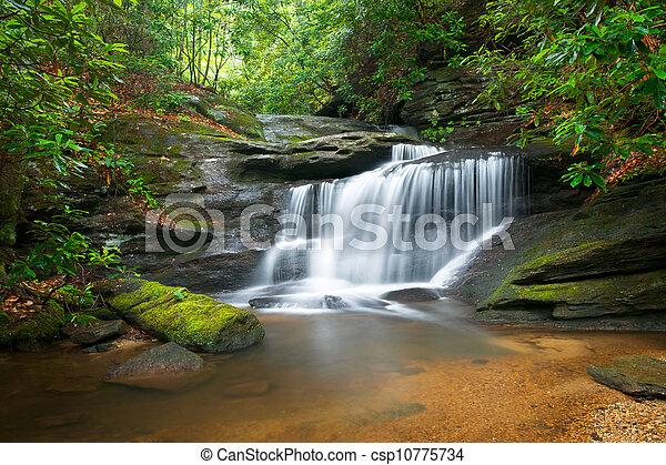 montagnes bleues, arête, nature, barbouillage, arbres, luxuriant, rochers, eau, vert, chutes d'eau, écoulement, paisible, mouvement, paysage - csp10775734