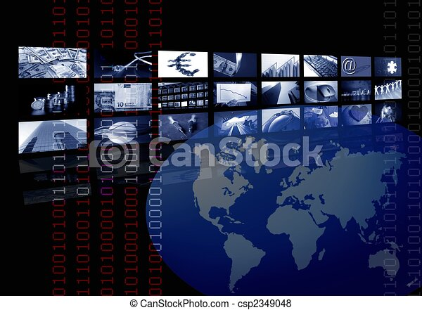 multiple, business, écran, carte, constitué, mondiale - csp2349048