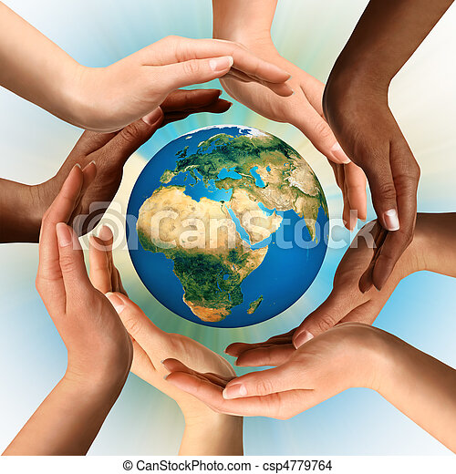 multiracial, entourer, globe, la terre, mains - csp4779764