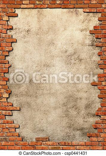 mur, grungy, brique, cadre - csp0441431
