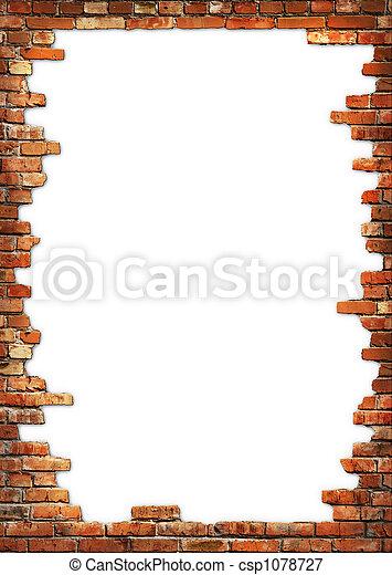 mur, grungy, brique, cadre - csp1078727