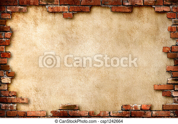 mur, grungy, brique, cadre - csp1242664