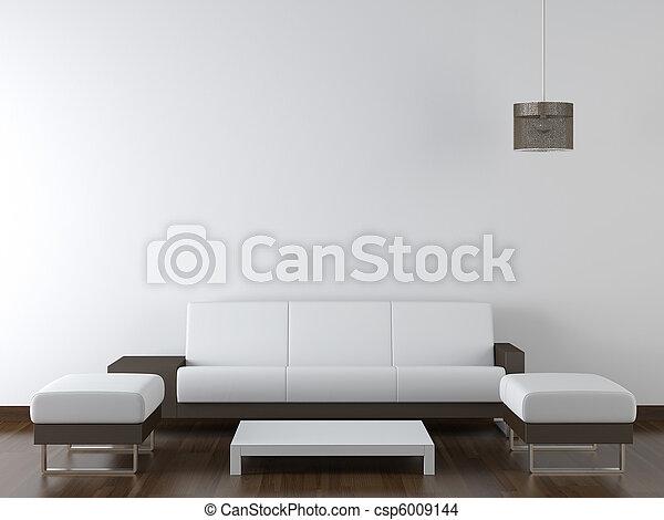 mur, moderne, conception, intérieur, blanc, meubles - csp6009144