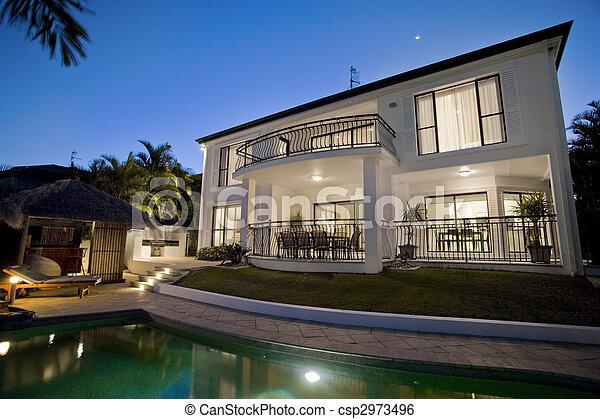 négligence, crépuscule, luxueux, extérieur, manoir, piscine - csp2973496