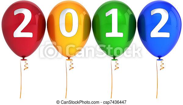 nouveau, 2012, ballons, heureux, année - csp7436447