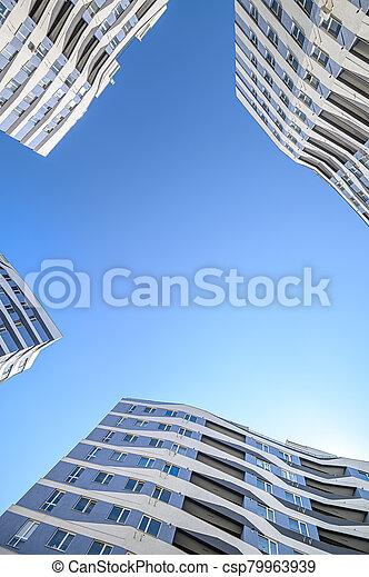 nouveau, angle, appartements, extérieur, prise vue large, bâtiments - csp79963939