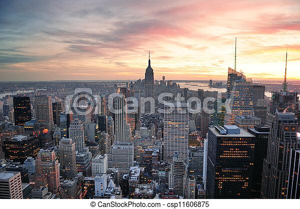 nouveau, coucher soleil, york, ville - csp11606875