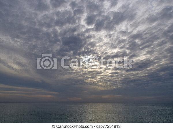nuageux, mer, soir - csp77254913