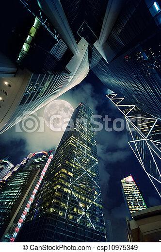 nuit, moderne, gratte-ciel, temps - csp10975349