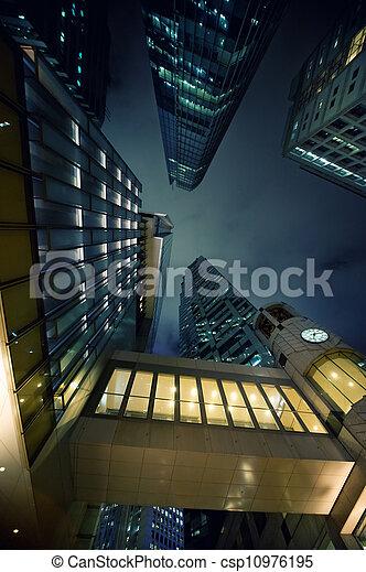 nuit, moderne, gratte-ciel, temps - csp10976195