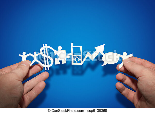 papier, business, chaîne - csp6138368