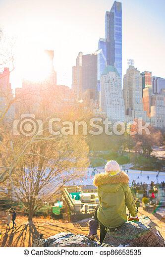 parc, new york, adorable, central, girl - csp86653535