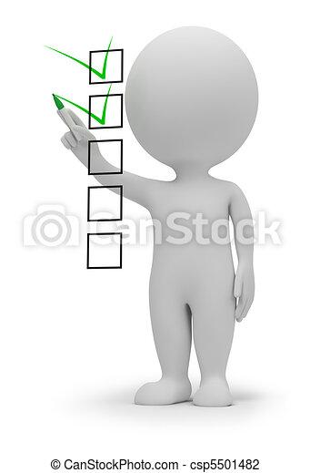 petit, liste contrôle, 3d, -, gens - csp5501482