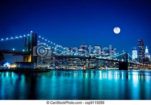 pont, brooklyn, ville, york, nouveau - csp9119289