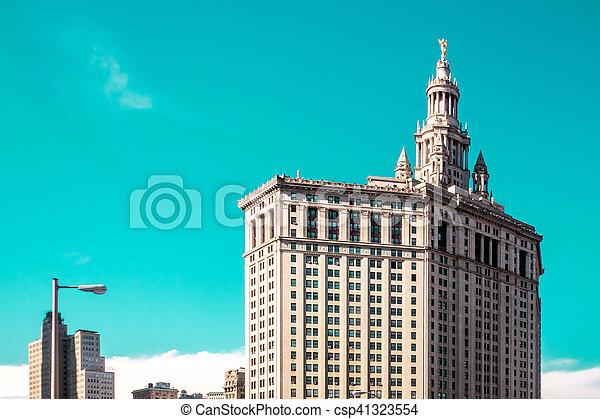 pont, ville bâtiments, brookling, york, nouveau, manhattan - csp41323554