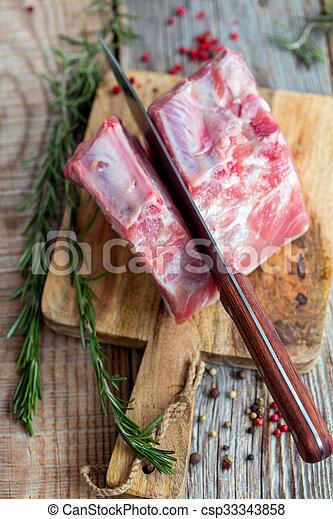 porc, loin., above., découpage, couteau, vue - csp33343858