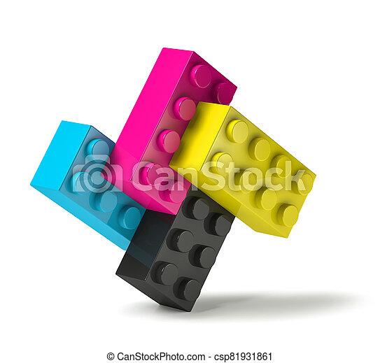 procédé impression, bâtiment, 3d, couleurs, debout, blocs, quatre - csp81931861