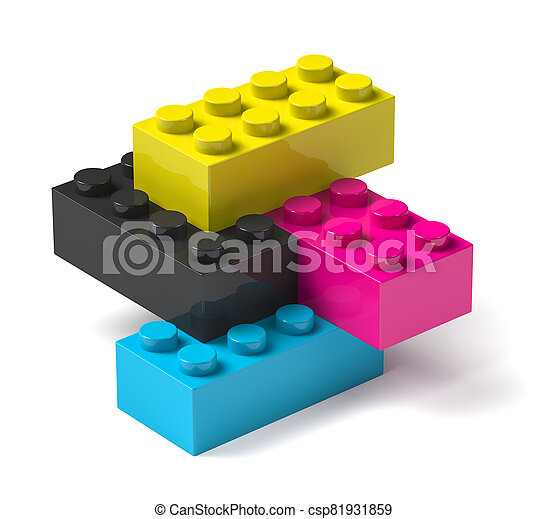procédé impression, bâtiment, 3d, couleurs, blocs, quatre - csp81931859