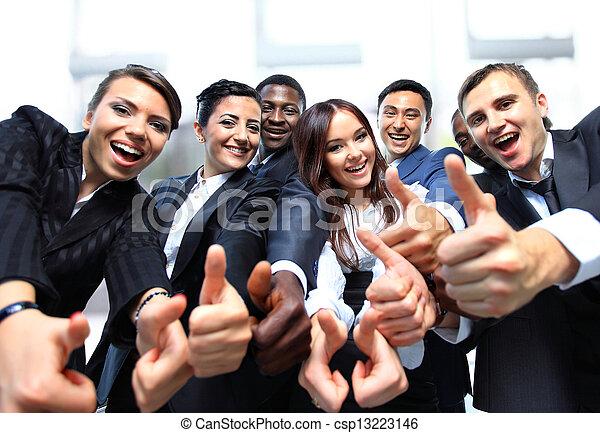 professionnels, réussi, haut, pouces, sourire - csp13223146