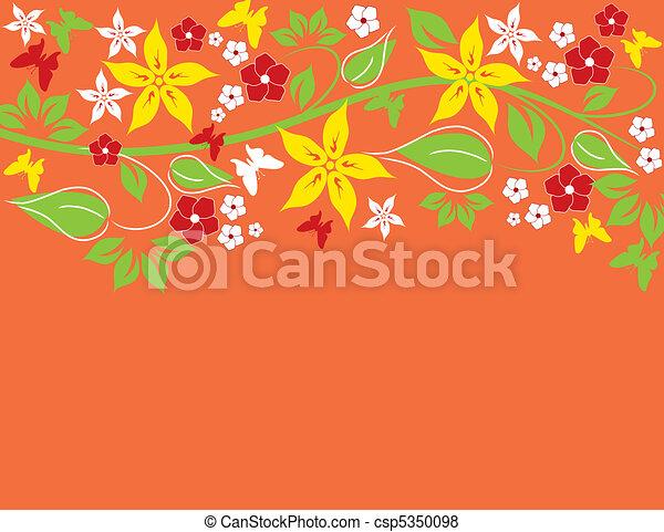 résumé, fond, floral - csp5350098