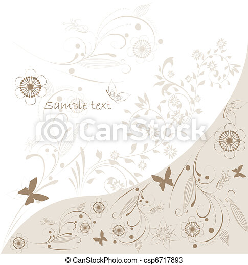 résumé, fond, vecteur, floral - csp6717893