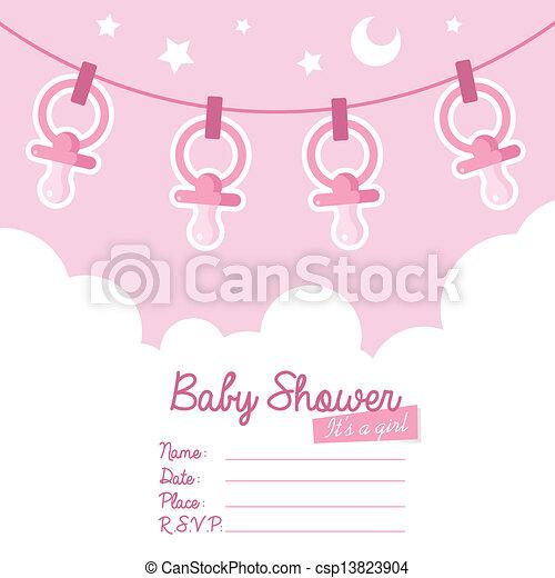 rose, douche, papa, bébé, invitation - csp13823904