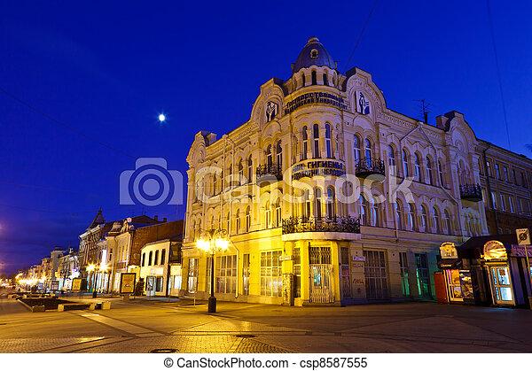 rue, nuit, centre, russie, samara - csp8587555