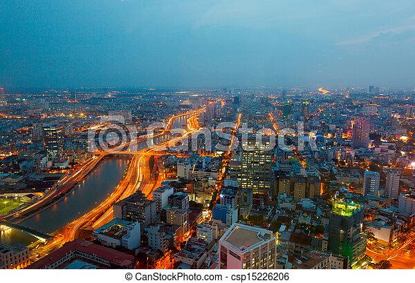 saigon, nuit, panorama, ville - csp15226206