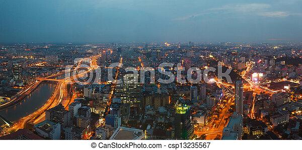 saigon, nuit, panorama, ville - csp13235567