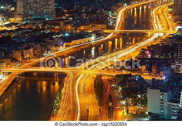 saigon, nuit, panorama, ville - csp15220554