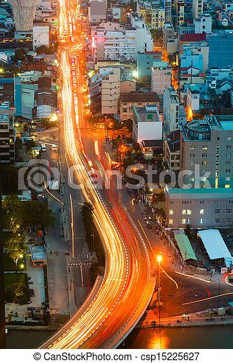 saigon, nuit, panorama, ville - csp15225627