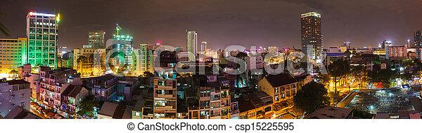 saigon, nuit, panorama, ville - csp15225595