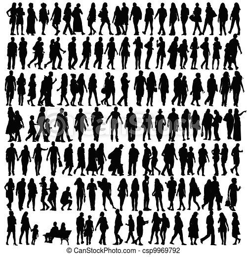 silhouette, vecteur, noir, gens - csp9969792