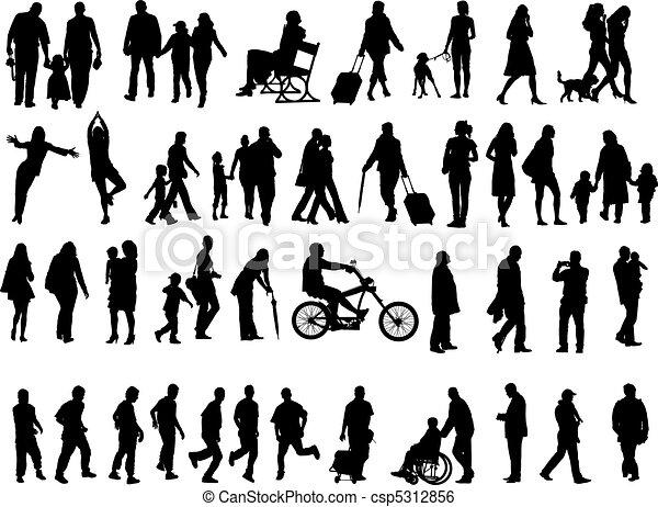 silhouettes, gens, sur, 50 - csp5312856