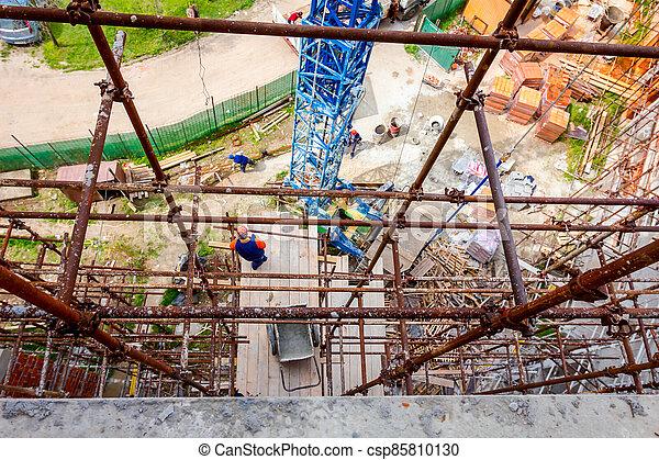 site, échafaud, construction, vue, au-dessus - csp85810130