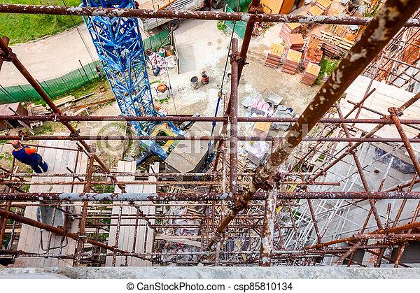 site, échafaud, construction, vue, au-dessus - csp85810134