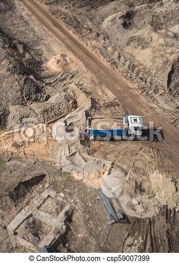 site., above., construction, camion, gravier, vue - csp59007399