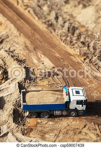 site., above., construction, camion, gravier, vue - csp59007439