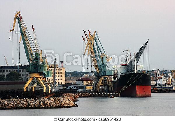 soir, mer noire, port, sevastopol - csp6951428