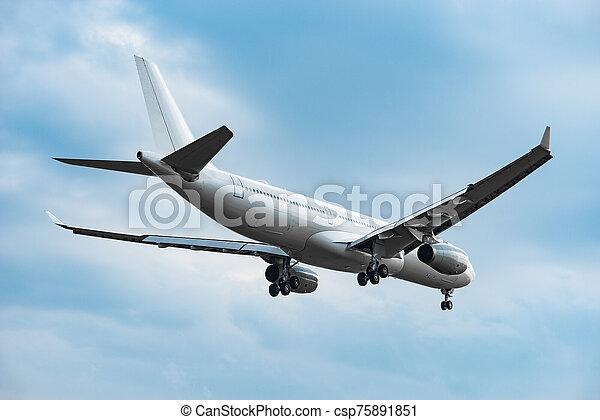 soir, time., atterrissage, avion, passager - csp75891851