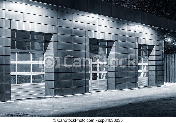 time., auto, nuit, bâtiment extérieur, service - csp84038035
