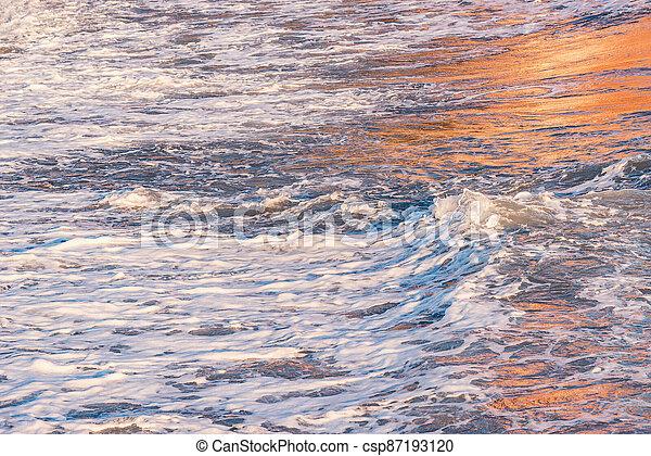 time., vague, coucher soleil, eau, mer - csp87193120