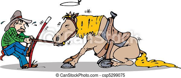 traction, cheval, début - csp5299075