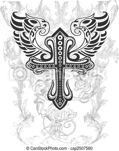 tribal, croix, illustration, aile - csp2507560