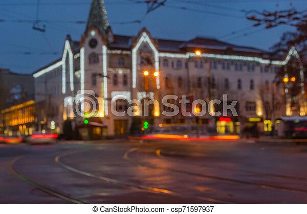 ukraine, ville, soir, central, dnipro, hôtel, partie, temps - csp71597937