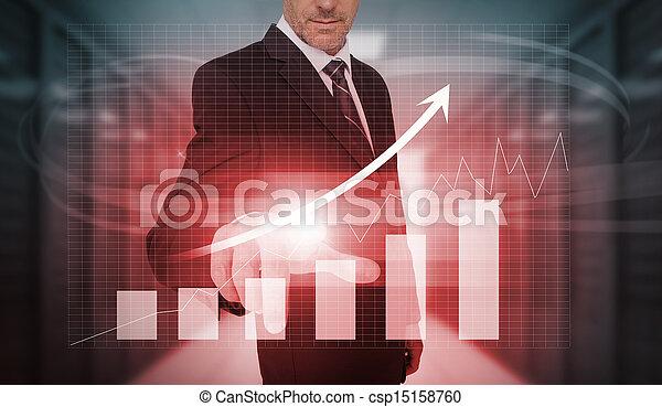 urgent, arr, homme affaires, croissance, rouges - csp15158760