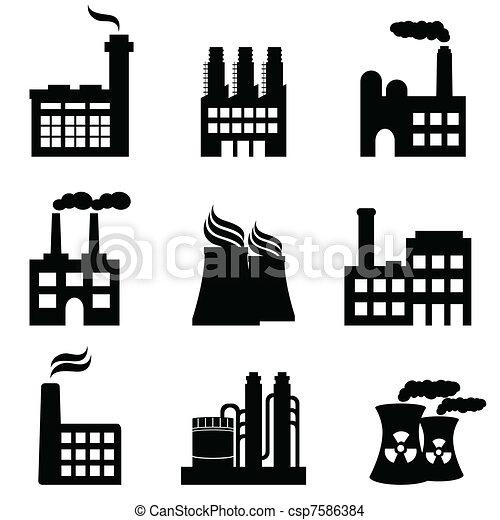 usines, usines, industriel, puissance, bâtiments - csp7586384
